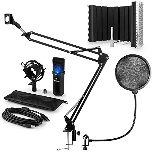 auna MIC-900B-LED USB Mikrofonset V5: Kondensatormikrofon + Pop-Schutz + Mikrofonschirm + Mikrofonarm (USB, Plug&Play, LED-Beleuchtung) schwarz