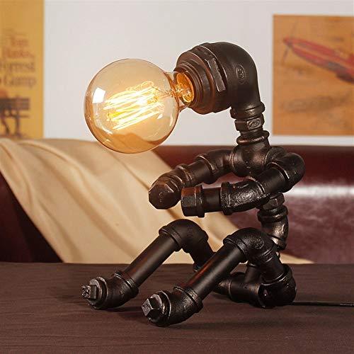 E27 lámpara de mesa de la vendimia, Tubos retro industrial del hierro del agua Robot Steampunk luz de escritorio de la cabecera turística (Color : Negro)