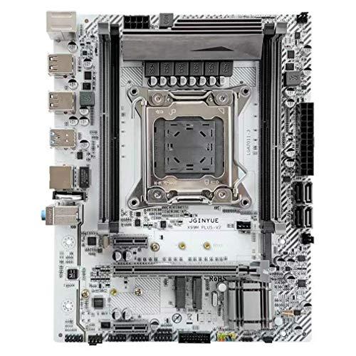 Placa Base X99 LGA 2011-3 con Soporte Dual M.2 de Cuatro Canales DDR4 ECC/Non-ECC (Blanco 23,5 cm * 18,5 cm)