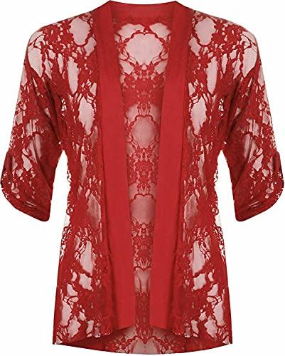 Cárdigan abierto de encaje para mujer, manga 3/4, bolero de encaje floral, tallas grandes US 10-24 - rojo - 50-52 Más
