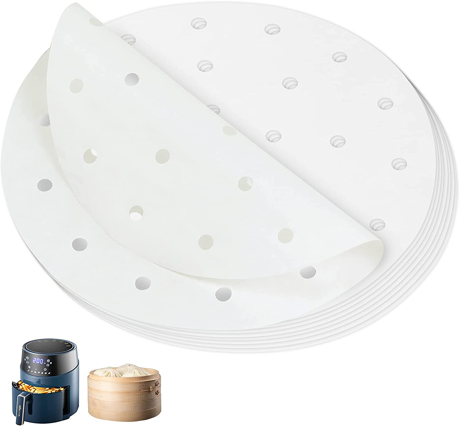 Air Fryer Liner 100 Sheets, Circular Perforated Parchment Paper, Air Fryer Parchment Paper/Bamboo Steaming Paper/Suitable For Air Fryer (8 inches)