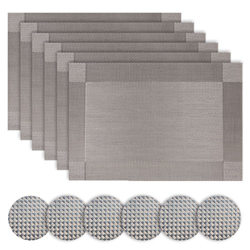 Homcomodar Silver Table Place Mats and Coasters Sets of 6 (Grey)