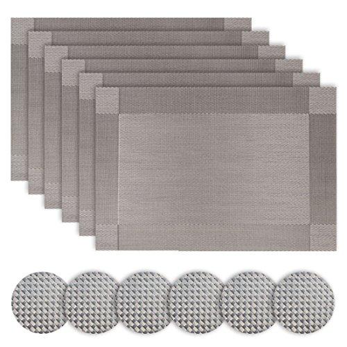 Homcomodar Tischsets Abwaschbar mit Untersetzer 6er Set Grau PVC Vinyl Platzsets Hitzebeständig Platzdeckchen 30x45cm