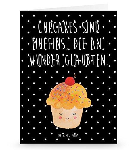 Mr. & Mrs. Panda Grußkarte Cupcake - 100% handmade in Norddeutschland - Backen Geschenk, Gutschein, Grusskarte, Einladung, Karte, Klappkarte, Einladungskarte, Pappe, Küche Deko, Wunder, Muffin, Küche Spruch