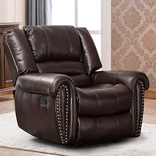 Best CANMOV Leather Recliner Chair, Classic and Traditional Manual Recliner Chair with Overstuffed Arms a