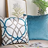 H.VERSAILTEX Original Velvet Cushion Covers 20x20 Mix and Match (Set of 2) Decorative Throw Pillow Covers for Living Room/Sofa/Couch Bed (Teal/Taupe&Teal)