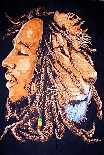 DOORGA Bobmarley and Lion One World Tapestry Wall Decor/Ethnic Wall Hanging Art/Hippie Wall Art/Boho Poster (Bob Marley)
