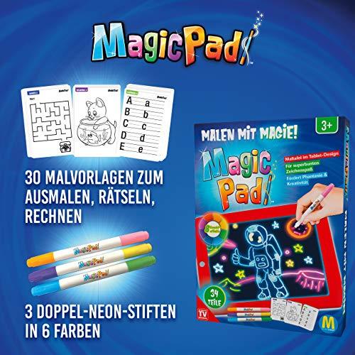 Mediashop Magic Pad – Zaubertafel mit 6 Neonfarben und 8 Leuchteffekten – Kreative Beschäftigung für Kinder, auch unterwegs – Maltafel mit 30 Schablonen, abwischbar – 2 STK. - 3