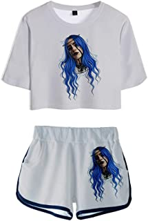Billie Eilish 3D Digital Printed Short-Sleeved T-Shirt Girl Trend Summer Sports Suit