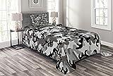 ABAKUHAUS Tarnen Tagesdecke Set, Camouflage-Konzept, Set mit Kissenbezügen Waschbar, für Einzelbetten 170 x 220 cm, Grau Schwarz