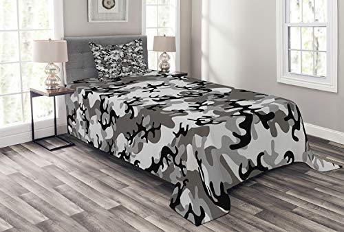 ABAKUHAUS Camo Tagesdecke Set, Camouflage-Konzept, Set mit Kissenbezug Weicher Stoff, für Einselbetten 170 x 220 cm, Schwarz-graue Silber