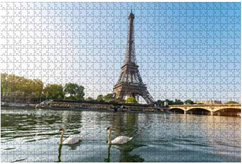 Eiffel Tower Paris in France with Swans at The Seine River Animals Large Piece Jigsaw Puzzles for Adults Kids Creative Entertainment Educational Wooden Puzzles,1000 Pieces 75 * 50 cm