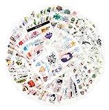 Pack d'autocollants de décoration pour Adultes 1500+ Designs 72 Feuilles 12 thèmes Stickers en Papier washi Stickers décor Assortis Stickers adhésifs en Graffiti (Vie de Loisir)