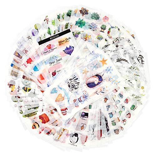 Dekoration Sticker Pack für Kinder Erwachsene 1500+ Designs 72 Blätter 12 Themen Washi Paper Aufkleber Sortiert Decor Aufkleber Selbstklebende Aufkleber Graffiti Patches (Freizeit Leben)
