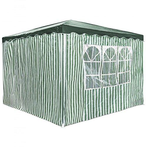 Homelux Partyzelt 3 x 3 m Festzelt Gartenzelt Bierzelt Pavillon Gartenpavillon mit 4 Seitenwänden Grün gestreift