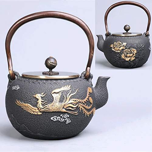 Tea Pot, Cast Iron Small Tea Maker, Vintage Heat Resistant 1.2 Litre Japanese Tea Kettle for Loose Leaf Tea, for Party Office Home