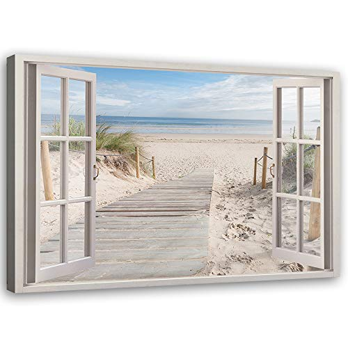 Feeby Leinwandbild XXL Fenster-Illusion Wandbild Kunst Strand Beige 120x80 cm