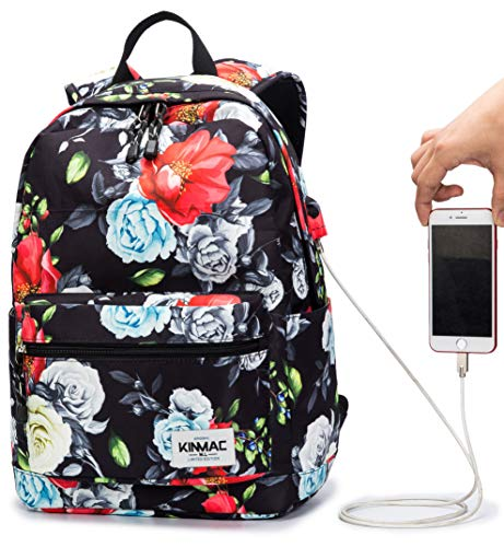 Kinmac Colorful Rose Pattern 15 inch Waterproof Laptop Travel Outdoor Backpack With USB Charging Port For 13 inch 14 inch and 15.6 inch Laptop