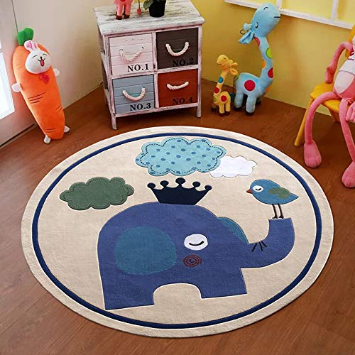 N / D Carpet Living Room Bedroom Hanging Blue Swivel Chair Cushion Computer Chair Cushion Bedside Carpet 120cm in diameter (round) elephant