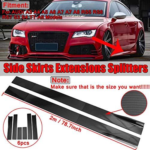 JKBDNB Carbon-Faser-Side Skir, Blick 2M Universal Car Side Rock Extensions Splitter Lip Für Audi A3 A4 A5 A6 A7 A7 A8 Q3 Q5 Q7 RS5 RS6 RS7 S3 S4