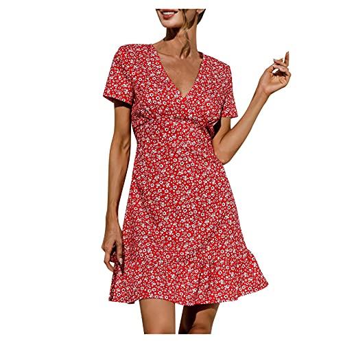WWricotta Damen Kleid Modisches einfarbiges Kleid mit V-Ausschnitt und ausgestelltem Ärmel Temperament Knielanges Kleid