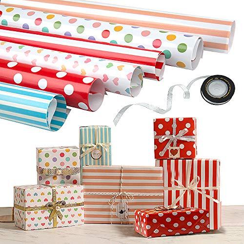 Papel Para Envolver Regalos, Joeyer 6 Hojas Envoltura Colorido (Doblados) Para Cumpleaños, Día De Fiesta, Boda, Baby Shower