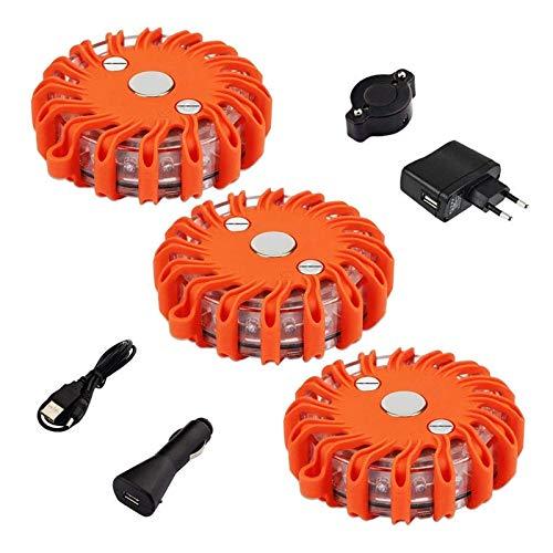 FLOWTRIC Juego de 3 luces de advertencia recargables, luz de emergencia, color naranja, 9 modos de flash, para coche, camión, motocicleta, vehículos con base magnética