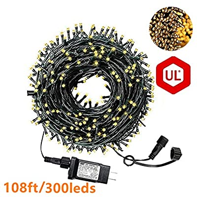 Christmas String Lights,108FT 300 LED String Lights IP65 Fairy Lights UL Certificated Outdoor Christmas String Lights End to End Connectable for Garden,Patio,Christma Trees, Parties etc