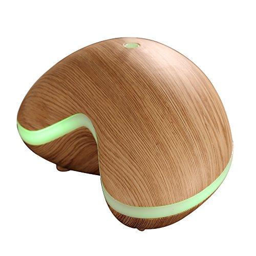 Gosear 150ml Humidificador Aromaterapia Ultrasónico con LED Lámpara para SPA Yoga Casa y Oficina Claro Grano de Madera
