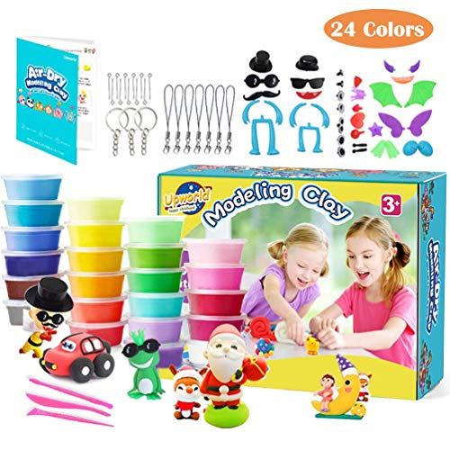 Upworld Modeling Clay Kit, 24 Colors Ultra Light Magic Clay Air Dry Clay with Modeling Tools, Animal Accessories, Manual and Storage Box Best Crafts Gift for Kids Age 3-12 year old