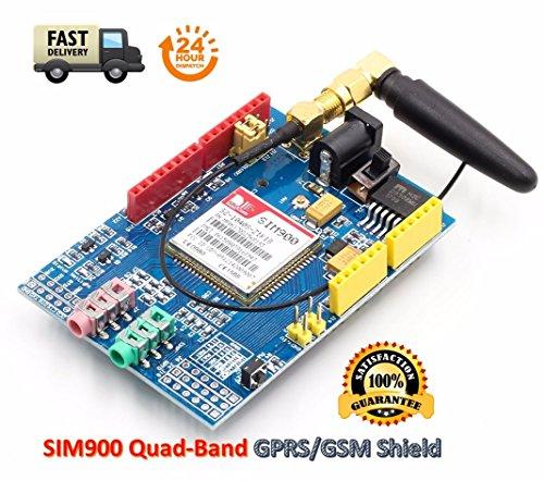 TECNOIOT SIM900 GPRS/gsm Shield Development Board Quad-Band Module with Antenna