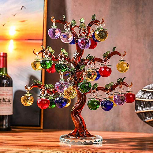 Adornos de Cristal de Manzano 36 Piezas 18 Piezas Mano Manzana Vidrio Feng Shui artesanía decoración del hogar-ámbar_18 cuelga