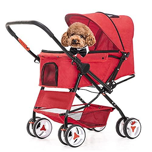 Passeggino per Gatti Cani Coniglio con Manico Reversibile, carro trasportino per Cani di Piccola o Media Taglia Fino a 20 kg, Facile da Piegare Lavabile, per Una varietà di Terreni