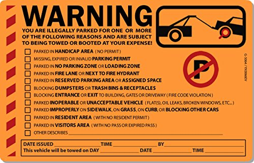 50 Orange Fluorescent MULTI REASON Warning Stickers 8' X 5'
