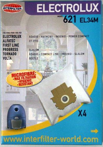 4 sacs non tisses Interfilter (made in UE) adaptables pour | ALFATEC - Eurocompact : EC 10 à 20, EC 30 | ELECTROLUX - Compact Power : Z 2600,2604,2605,2630,2631,2640,2650,2651 - Ingenio : Z 2540, 2541, 2560 à 2578, 2580 - Harmony : Z 2520, Z 2530, Z 2550 - Ligne 2400 (E 16) - Adagio - Compact /Power TO : 2450, 2455, 2460, 2465 | FIRST LINE - AP 130 - AP 130.6 | MIO STAR - Compact : 2000, 3000, 3500, 4000 | PROGRESS - Slalom : Cherry, Fresh, Futura, Marienkaefer, Mint, Trend, Turbo, 600, 800, 900