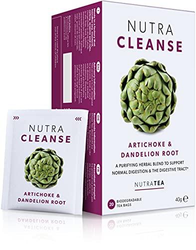 NutraCleanse - Entgiftungstee/Detox-Tee mit Artischocken & Löwenzahnwurzel - Unterstützt die Entgiftung & fördert die Verdauung - 20 verpackte, wiederverwendbare Teebeutel - Kräutertee - Nutra Tea