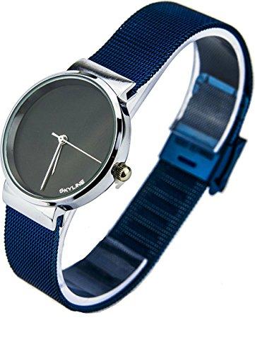 Reloj Mar Azul En Acero Y Fondo Negro