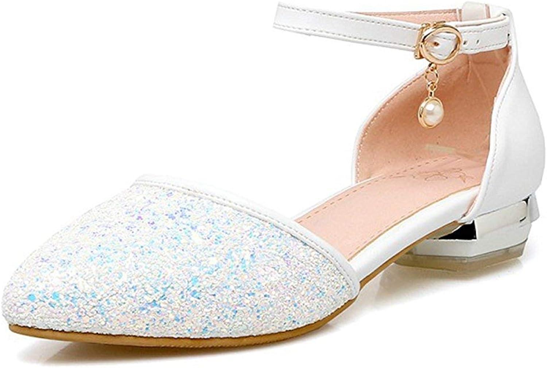 Ghapwe Women's Sweet Sequins Almond Toe Buckle Ankle Straps Low Block Heels Sandals Pink 8 M US