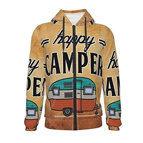 Inaayayi Happy Camper Camping Unisex Sweater Teen 3D Casual Pullover Hoodie Sweatshirts Jungen Mädchen mit Tasche Gr. S, Schwarz