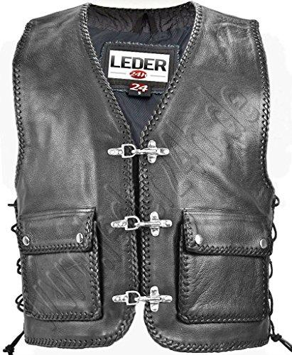 LEDER24H Herren Lederweste Biker Motorrad Lederkutte 1010 (S)