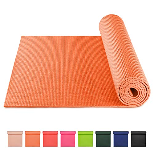 BODYMATE Yogamatte Universal Orange - Größe 183x61cm – Dicke 5mm – Schadstoffgeprüft frei von Phthalaten, BPA, Schwermetallen – Trainings-Matte für Fitness, Yoga, Pilates, Functional