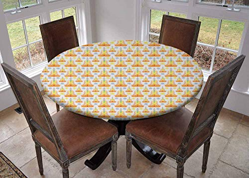 Ronde tafelkleed keuken decoratie, tafelkleed met elastische randen, Man Figuur Zittend in Lotus Positie met Spiritual Motifs Meditatie Abstract Multi kleuren, Wasbaar tafelkleed