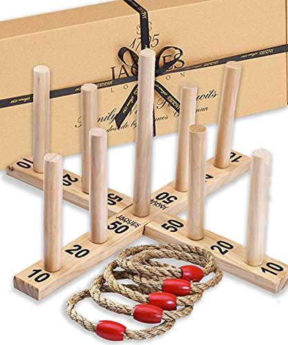 Jaques de Londres - Juego de Juguetes y Juegos de jardín de Quoits Make - Excellent - Juego de jardín New Nine Pin Quoits