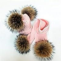 レディーススカーフ 女性の冬のスカーフの毛皮のポンポムスカーフ厚い暖かい女性のショール包装毛布の女性の毛皮のポン帽子スカーフセット カジュアル (Color : Pink balls, Size : Adult size)