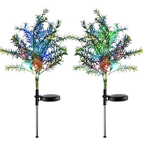 2 Luces Solares Para Jardín, Árbol Al Aire Libre, Luces De Pila Que Cambian De Color Con Varios Led, Flores Para Jardín, Terraza, Patio Y Decoración