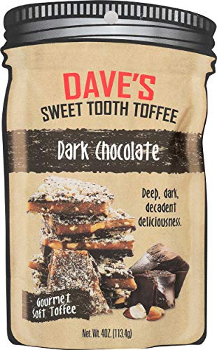 Dave Sweet Tooth Toffee Dark Chocolate Flavor with Real Butter Real Sugar and Handsliced Almonds Handmade Homemade Naturally GlutenFree Kosher Certified 40 oz Resealable Bag