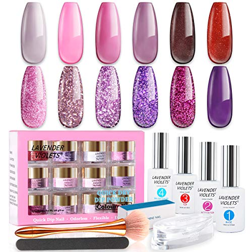 Lavender Violets 12-Color Quick Dry Dipping Powder Bundle Set of Dip-Powder Gel Liquid Kit and Acrylic Shimmer Dipping Color Refill Set with Nail Files, Dip Powder Tray and Nail Brush
