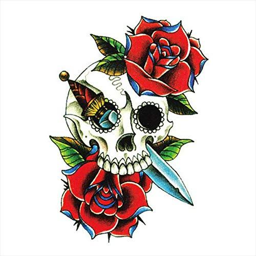 Tatuajes temporales con diseño de calavera rosa y daga para hombre y mujer, tatuaje temporal, 10 x 15 cm