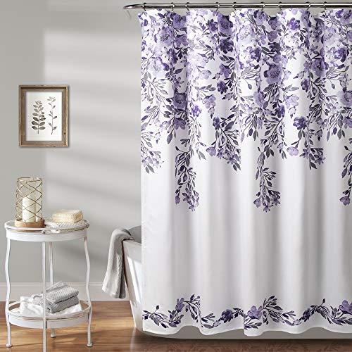 MISC Bold Floral Shower Curtain, Lavender Purple Flower Vine Design Fabric Bathtub Curtain Grey Accents, Beautiful Damask Flowing Flowers Cloth Shower Drape Farmhouse Shabby Chic, 72' x 72' Polyester