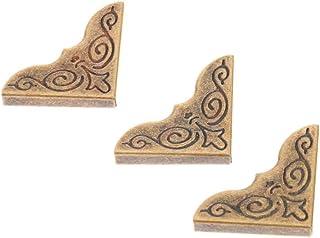 JJZXD 24 pcs Protecteur de Coin décoratif Boîte en Bois Fer Scrapbooking Album Corner Support Antique Bronze Protecteurs M...
